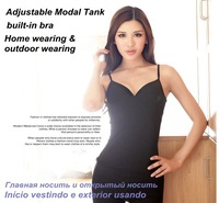 Basic Women T-shirt adjustable Modal Strap Built In Bra Padded Self Mold Bra Tank & Tees Top Camisole Camis Women free shipping