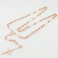 2014 New elegant rose gold beads rosary stainless women&men Catholic church cross pendant chain necklace jewellery free shipping