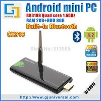 (10pcs/lot) Original CX919 Mini PC Android 4 2 Quad Core RK3188 TV Dongle 1.6GHZ 2GB+8GB WiFi Bluetooth