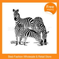 Free shipping 2pcs/lot , Black & White Zebra Design Bathroom Fabric Waterproof Shower Curtain