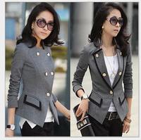 FREE Shipping New Fashion 2014 Spring Korean Female Suit Jacket Women Double Breasted Short Coat Office Ladies Blazer Black/Grey