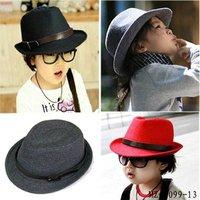 Classic Solid Color Cool Baby Fedora Kids Jazz Cap Kids Autumn / Spring Cap Baby Woolen Bucket Hat 10pcs Free Shipping MZ-0099
