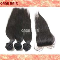 Brazilian Virgin Human Hair 4 pcs / Lot , Silk Base Closure With 3 Bundles Hair Weft Extension  Brazilian Virgin Hair Straight