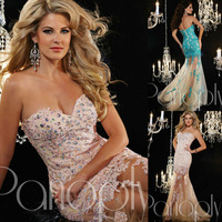 Sweetheart Neckline Delicate Train Long Sleeveless Mermaid Laced Dress Bodice Flared Tulle Skirt Superb Evening Gown