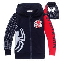 1Pc Reatil Free Shipping 2014 new kids spiderman hoodie jackets Boys cartoon outerwear spring autumn children`s coat