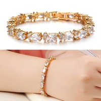 2014 New Fashion Jewelry 18k Gold Plated CZ Cubic Zirconia Designer Bracelets & Bangles For Women