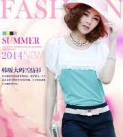 Elegant fashion chiffon blouse top 2014 summer women's brand o-neck plus size slim patchwork tee shirt high street for lady