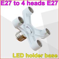 E27 to 4 heads E27 lamp base Light Lamp Bulbs Adapter Converter E27 Lamp Adapter lamp holder Free Shipping