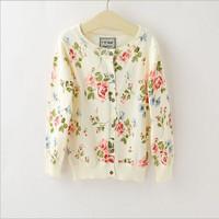 5pcs/lot kids jackets coats 2014 new autumn fashion flower girls  cardigan sweater size 3-7 white  colors  free shipping