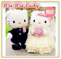2014 New 11.8''  Wedding Couple wedding dress dress suit Hello Kitty Stuffed Plush toy Doll wedding souvenirs1pair Free shipping