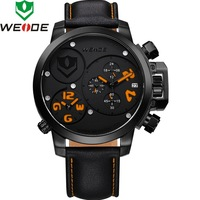 2014 WEIDE male watches men luxury brand Genuine Leather MIYOTA Analog&Date Military Watches Quartz Watches For Men WG-93002PO