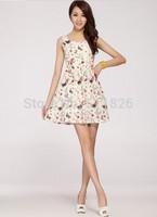 Free Shipping summer Fashion Women's Clothing Print Casual preppy Style Sundress Mini geometric Dress retro Without Belt