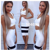 Free Shipping Women's Bodycon 2 pieces Over-Knee Length Black and White Fashion 2014 BANDAGE DRESS