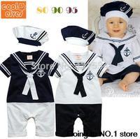 Retail New fashion Summer Newborn navy style baby romper suit kids boys girls rompers+hat body summer short-sleeve sailor suit