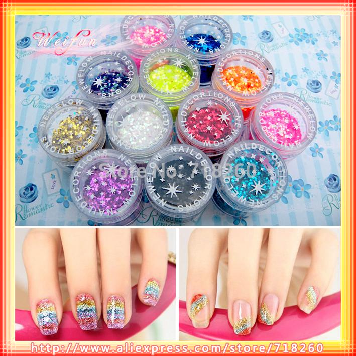 8Set/Lot 12 Beautiful Color Hexagon Spangles Nail Art Paillette Star Glitter Powder Supply Nail Sequins 96 Pots Wholesale Hot(China (Mainland))