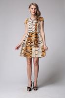 2014 New women Dress European and American Style High-end Printed Silk Dress L - XXXL  6073- Free Shipping
