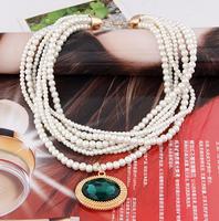 Min order 10USD(Mix order) SJB544  Western Style Fashion charmsr Gem Stone  Pearl Bib Necklaces & Pendants