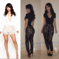Sexy Fashion Lace Club Bandage Bodycon Jumpsuits Womens Cocktail Party Clubwear