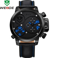 2014 WEIDE male watches men luxury brand Genuine Leather MIYOTA Analog&Date Military Watches Quartz Watches For Men WG-93002PL