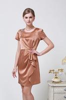 2014 Summer Women's European Leg of Upscale Beaded 100% Silk Dress Slim Size L - XXXL 6081- Free Shipping