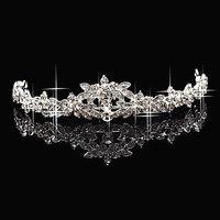 Trendy Silver Plated Rhinestone SWA Crystal Woman Wedding Crown Tiara Hairband Decoration Jewelry
