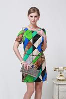 2014 Fashion Women Dress New Stitching Leopard Color Slim Silk Dress With Belt Size L - XXXL 6086- Free Shipping