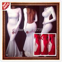new 2014 summer women backless white evening bandage dress long sleeve dress sexy party dresses desigual vestidos