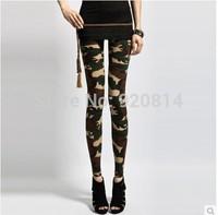 The new Spring 2014 women's nine points leggings army green camouflage uniform pants Leggings
