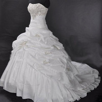 Cheap Price ! 2015 New Arrival ! Free Shipping ! A Line Strapless Embroidery White / Ivory Wedding Dresses OW 20288