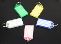 Wholesale 50 Pcs Multicolour  Blank Plastic Rectangle Keychains luggage tag Insert Photo Keyrings key card number-Free Shipping