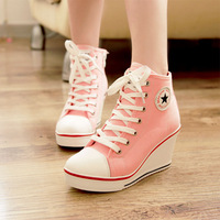 Beau 8 canvas wedges shoes high-heeled zipper lacing high casual elevator