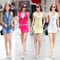2014 Best Selling Women Short Jeans Dresses Sleeveless Zipper Front Short Slim Denim Dress 4 colors S-XL Size Free Shipping
