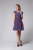 100 % Silk Women Dress European and American Style High-End Printed Silk Dress Size L - XXXL 6073- Free Shipping