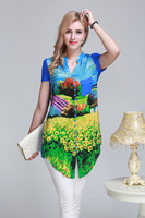 New Hot Ladies Pastoral Wind Print Long-sleeved Silk Blouse L- XXL 6098- Free Shipping