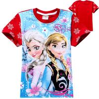wholesale 6pcs/lot girls frozen t shirt baby girls frozen top girls short sleeve frozen t-shirt kids t-shirts brand girls clothe