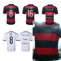 A+++ 100% Thailand Quality 2014 German Soccer Blouse Fan Version Home Away Black Red Germany Futbol Shirt Custom Name