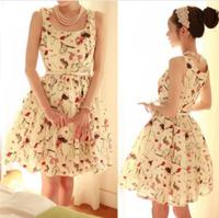 NEW Fashion chiffon soft lady dress red lip kiss rose lipstick printing spring dress causal summer women clothing