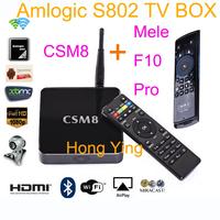 Android 4.4 kikat Amlogic S802 M8 quad Core Octo Core Gpu 2GB Ram 16GB Rom 3D HD 1080P XBMC Android Hdmi Av Wifi  + Mele F10 Pro
