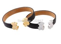 Pick Colour For Women/Girls Jewerly Imported Italian black leather bracelet cartoon bear Open Bangle