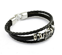 Wholesale Super deal New arrival fashion Jewelry Free Shipping, men jewlery, leather bracelet, fashion cross bracelet DZL0121