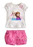 2014 New arrival Summer Girls Frozen Elsa&Anna Princess Clothing Sets 2-6 Yrs Baby&Kids Cute T-Shirt+ Pink Shorts Free shipping