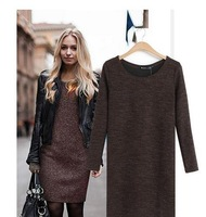 2014 fashion new Women Knitted Long Sleeve Mini Dress Casual Loose Woolen Sweater Dress Autumn,Spring,Winter Dress#C0556
