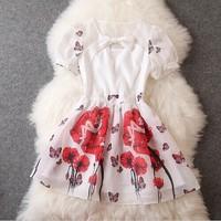 Brand big new summer 2014 fashion Bow printed Slim thin short sleeve women's dress high end good quality wholesale