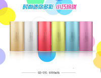 New Brand Gepow ,Magic external aluminum alloy mobile power bank 6000mAh for charging  smartphones 3 times with usb charger