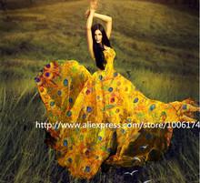 Atacado ( 5meters / lote) 135 centímetros (largura) 100% amoreira verdadeiro tecido chiffon de seda de impressão para o vestido de costura DIY(China (Mainland))