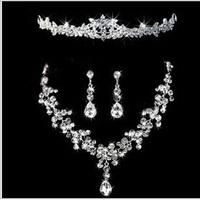 Fashion Water Drop Crystal Necklace Earring Crown Tiara Set Woman Bridal Wedding Jewelry
