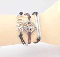 Antique silver love compass card long black and brown wax rope leather cord bracelet hand rope
