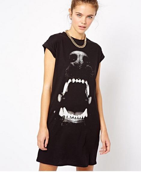 2014 Fashion new European Brand women short sleeves animal dress dog head printed dress black dress novelty long shirt#C0479(China (Mainland))