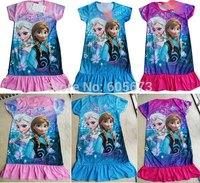 Retail Wholesale 2014 New Hot Sale Summer lowest price Frozen dress Girl dress Frozen Elsa's dress and Anna's dress 3pcs/lot