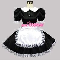 Sissy Maid Satin Lace Dress Uniform Gothic Lolita Dresses Custom Cosplay Free Shipping